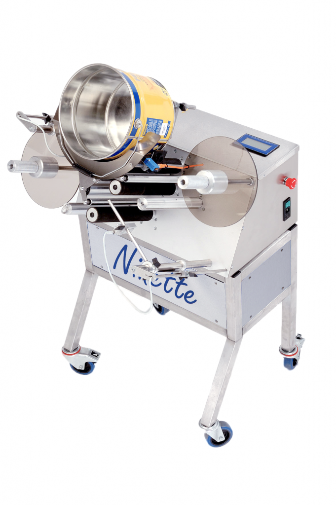 Ninette Special Products, CDA's semi-automatic paint bucket labeling machine