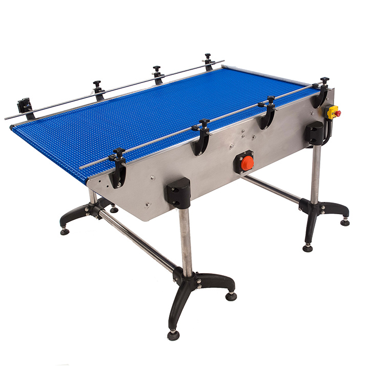 Loading / unloading table by automatic modular belt